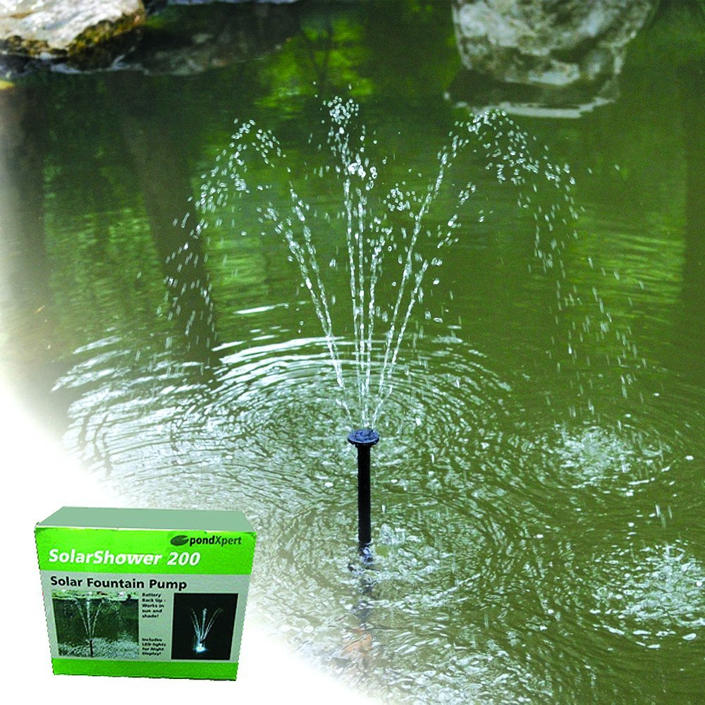 Pondxpert 200 solar pond pump solar powered submersible for Pump water from pond to garden